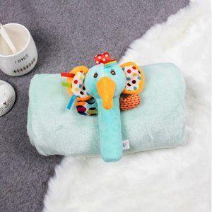 Kids Soft Flannel Blanket w/ Matching Toy - Green